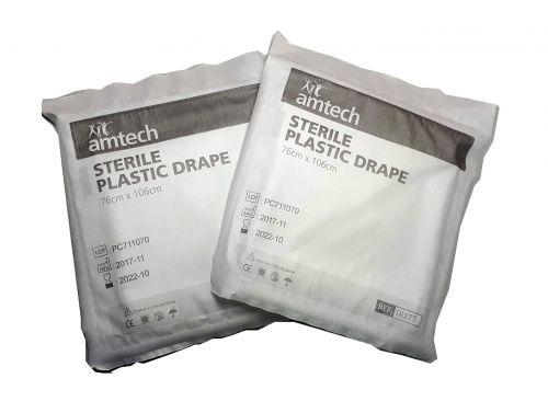 AMTECH PLASTIC TRANSPARENT DRAPE / STERILE / 76CM X 106CM