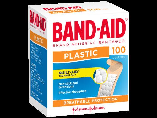 JOHNSON & JOHNSON BAND-AID PLASTIC ADHESIVE STRIPS / BOX OF 100