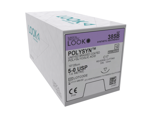 LOOK POLYSYN SYNTHETIC ABSORBABLE, BRAIDED COATED POLYGLYCOLIC ACID  5-0 19 CM RC 70