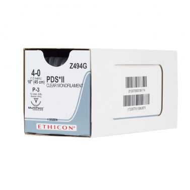 ETHICON PDS II® ABSORBABLE MONOFILAMENT POLYDIOXANONE / 45CM 4-0 19MM 1/2 CIRCLE MP RC / BOX/12