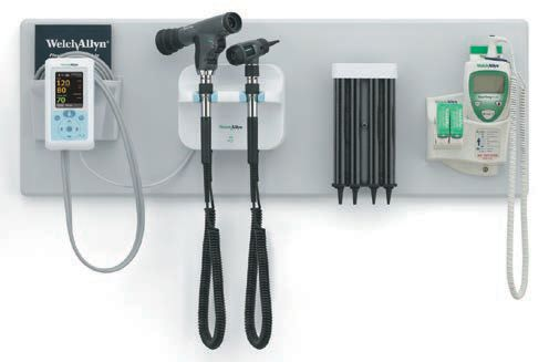 WELCH ALLYN GS77 INTEGRATED SYSTEM WITH 11820 PANOPTIC OPTHALMOSCOPE, 23810 MACROVIEW, 76700 LOCKING COLLARS AND LED LAMPS